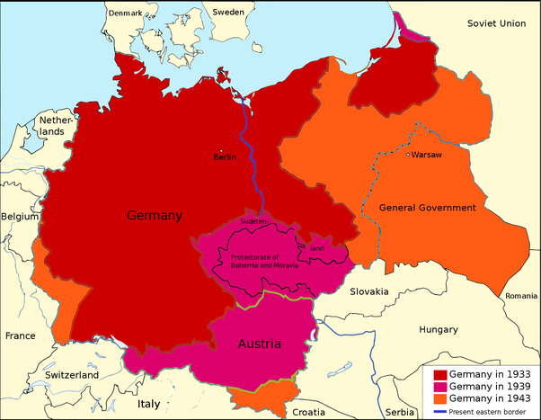 How come germany austria italy etc didnt lose any significant official german territory shown in 1933 when hitler seized power 1939 before start of ww2 and 1943 height of german power gumiabroncs Image collections