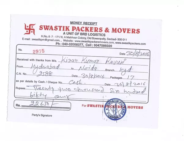 How To Get Packers And Movers Billproviding Companies Relocation - Packers and movers bill format download