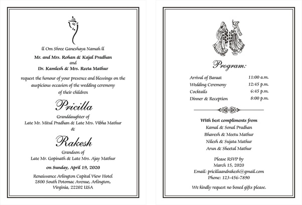 Here are some samples of Indian Wedding invitation Wordings