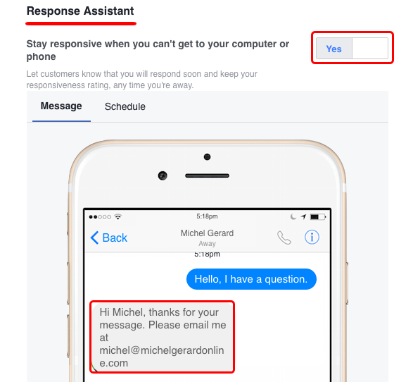 Can I set up an auto-reply in Facebook messages to tell people to ...