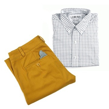 Yellow dress shirt with khakis carmel