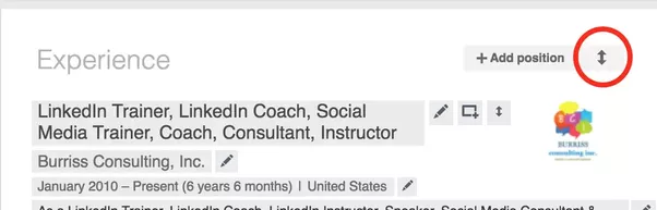 how to change order in linkedin profile