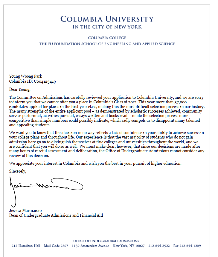 Columbia Acceptance Letter.What Does The Rejection Letter From Oxbridge Ivy League Look