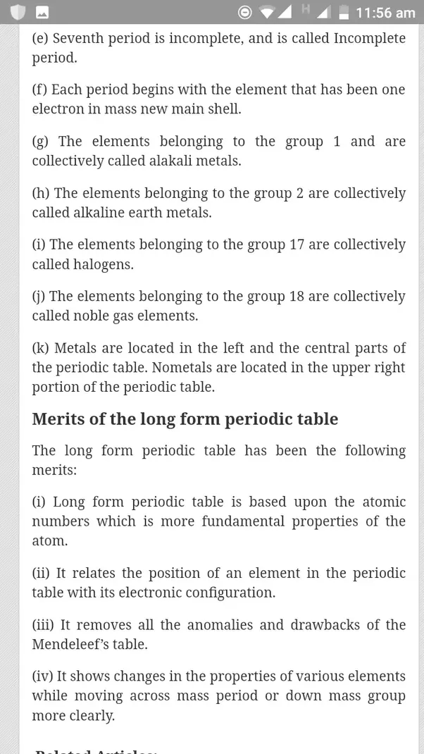 What Are The Characteristics Of Long Form Of Periodic Table Quora
