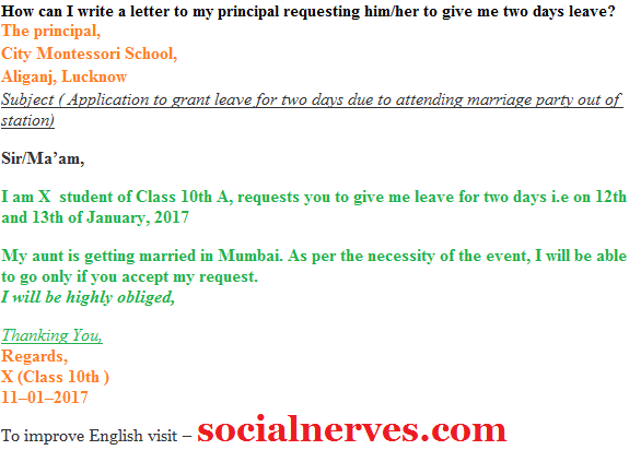 How to write a letter of absence in college quora altavistaventures
