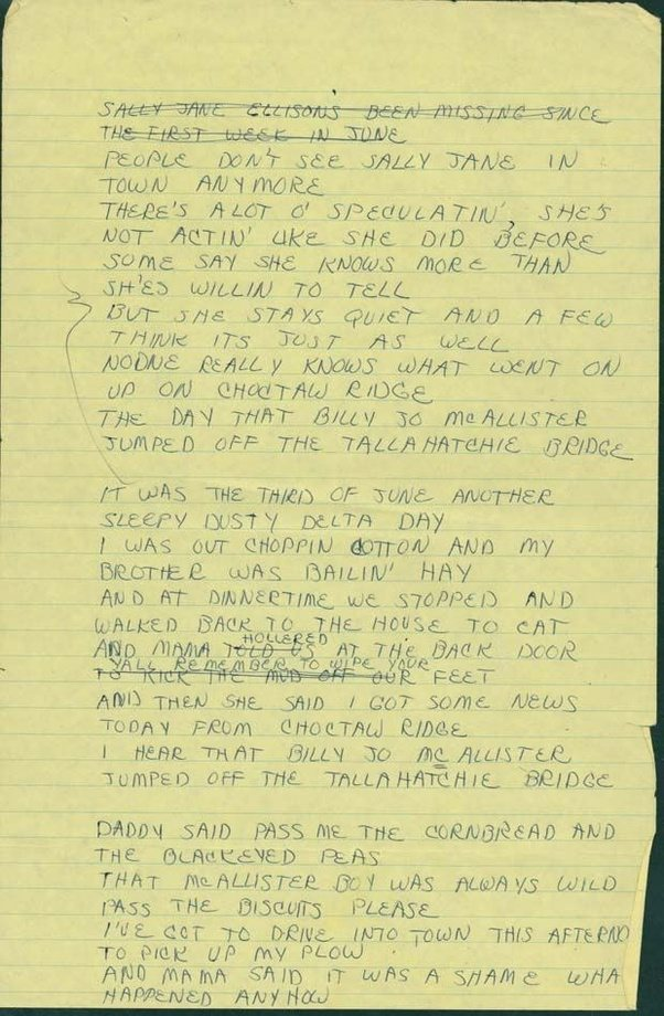 "Lyric lyrics to ode to billy joe : What actually happened in ""Ode to Billie Joe""? - Quora"