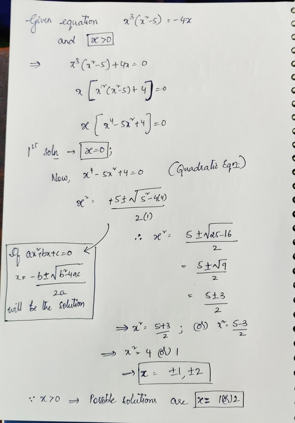 If X > 0, What Is One Possible Solution To The Equation X³