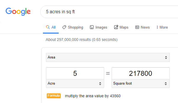 How many square feet are in 5 acres? - Quora