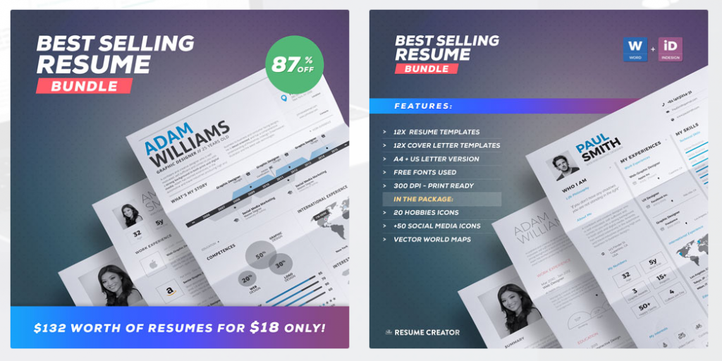 Check Out A Bundle Packed With 12 Resume Templates Cover Letters And Creative Portfolio Template There Are Also 30 Hobbies Icons 50 Social Media