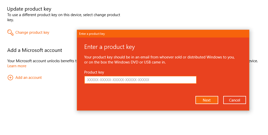 how to add activation key in windows 10