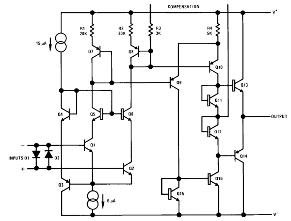 what is the internal circuit diagram of an op amp