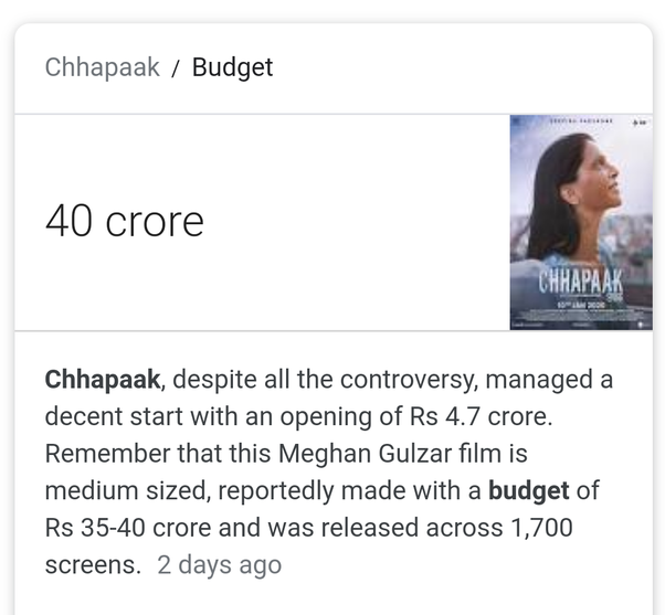 Is the movie 'Chhapaak' a hit or flop? - Quora
