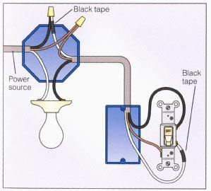One from two wiring source lights Wire Two