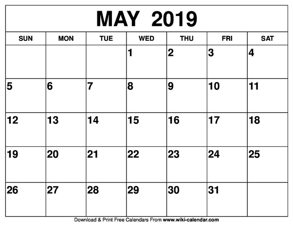 How To Get A Printed Or Printable Calendar For May 2019 Quora