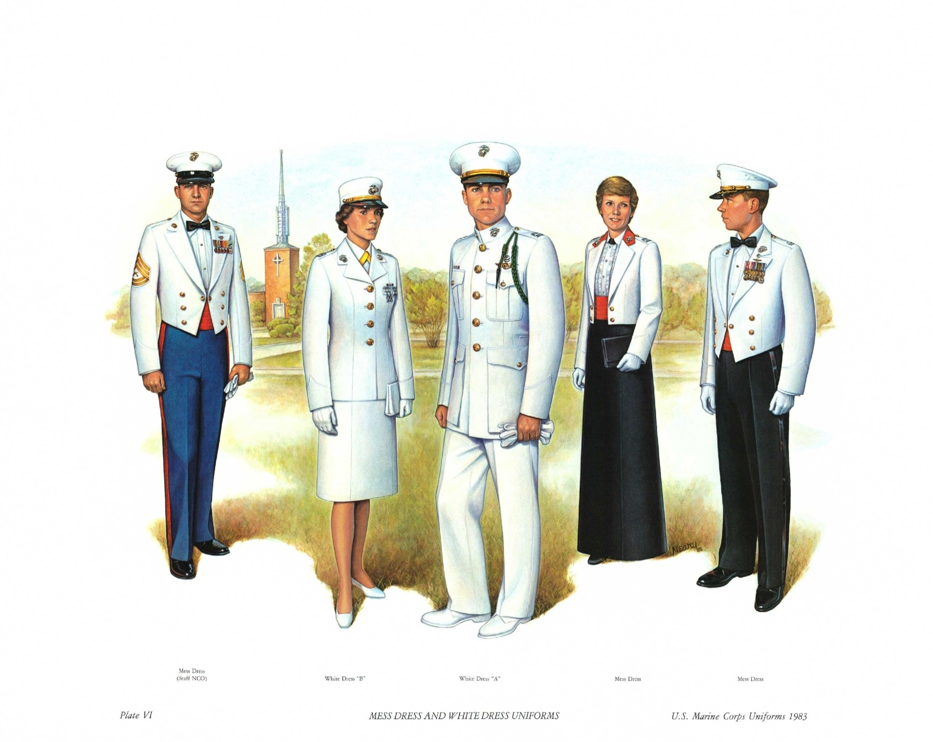 U.S. Marines wearing white uniforms in 1983. The United States Marine Corps  no longer has an entirely white uniform. The blue-white uniform with the ... f4e0b4f73
