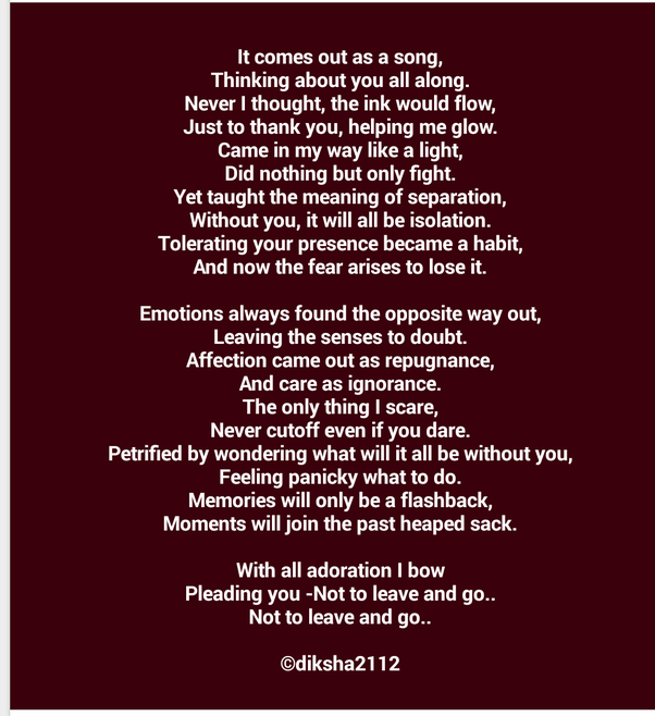 Poems about expressing your feelings
