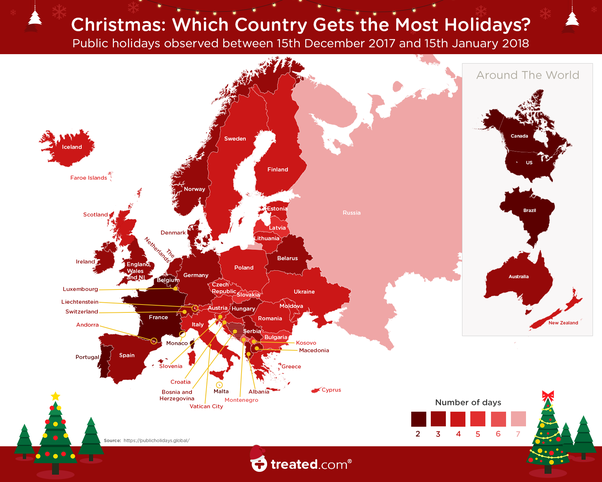 a total of 7 days off followed by montenegro with 6 and bulgaria with 5 this chart has all the info you are looking for - How Many Days Christmas