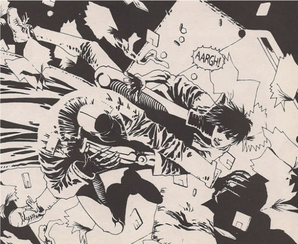 Yukito kishiro has inked in the stark black white style of american comics like sin city and hellboy for some of his one shot manga like ashen victor