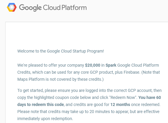 How to get 100,000$ credit on Google Cloud for my startup