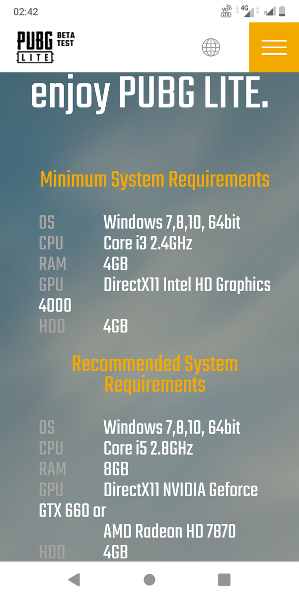 How much data is needed to download the PUBG game for a PC