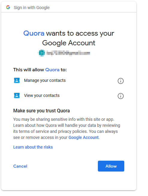 Who gave Quora permision to access my Google account? - Quora