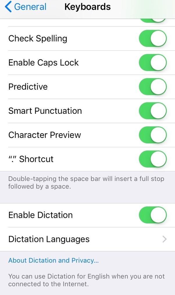 how do i add the microphone button to my keyboard on an iphone 6s it does not show dictation on the settings