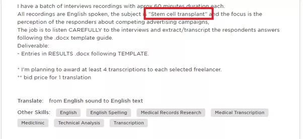 in the picture above the client has clearly stated that the transcription is about stem cell transplant you should really spend a paragraph in talking