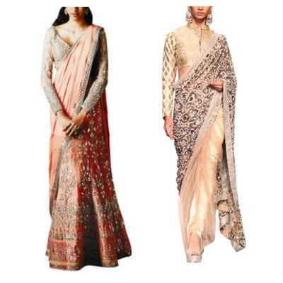 3a6ddb6a05e This Anita Dongre lehenga saree and this gorgeous Siddartha Tytler net saree  incorporate the trend beautifully. Women choosing to wear ...
