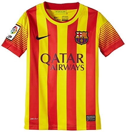 c1e3c85aa05 As I kid, I loved FIFA 14 and this was the away kit with Barcelona. The  Catalan colours and it's uniqueness makes this, my favourite away kit of  Barcelona.