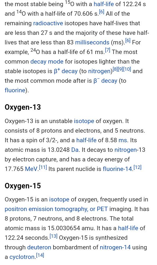 With neutrons 8 isotope oxygen What gas