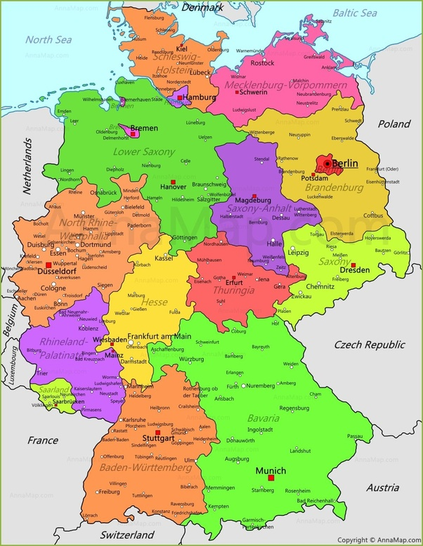 Modern Map Of Germany.Are Any Of The Former German Principalities That Didn T