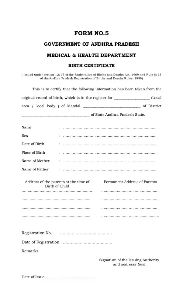 How To Apply For A Birth Certificate In Andhra Pradesh For Those