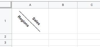 Google Spreadsheets: How do I make a diagonal line to split