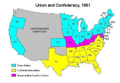 Map of states during us civil war
