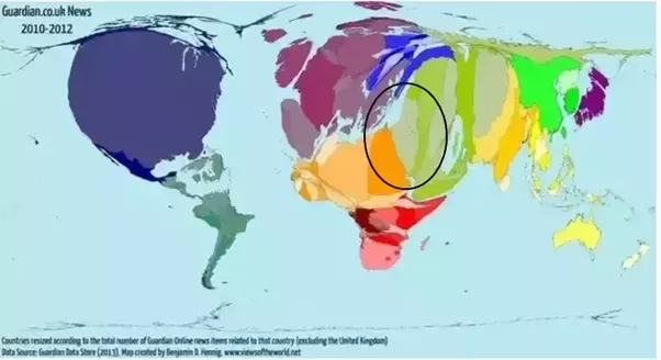 Is israel the centre of the earth quora world map of countries resized according to total number of guardian online news related to that country excluding the uk 2010 2012 gumiabroncs Gallery