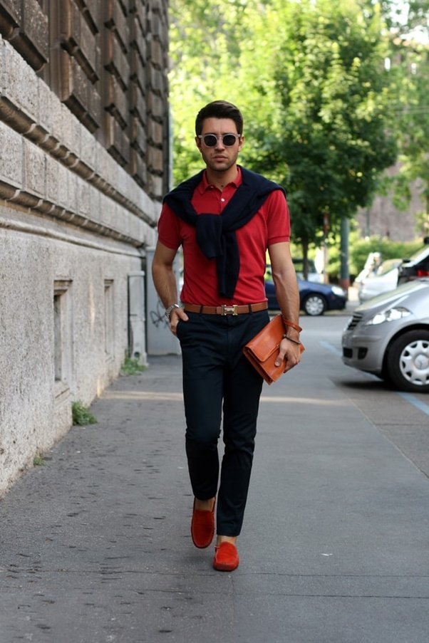 Which color shirts and pants matches with red shoes for ...