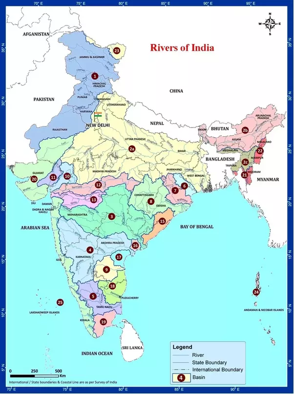 How Many Rivers Are In India Quora - Major river systems of the world