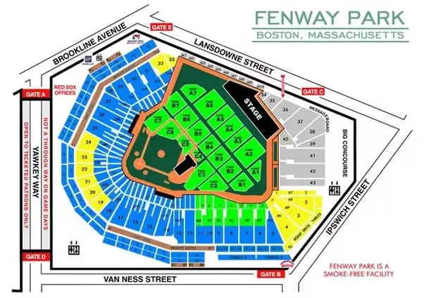 What is the best seating location for a concert in fenway park