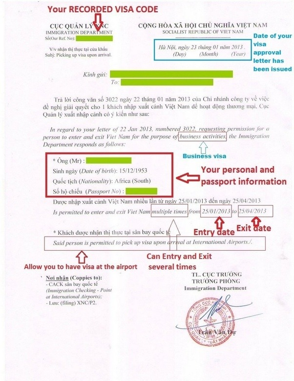 How does the vietnam visa approval letter look like quora entry date is the date you are allowed to enter vietnam exit date exit date is the date your visa has expired you must leave vietnam before this date altavistaventures Images
