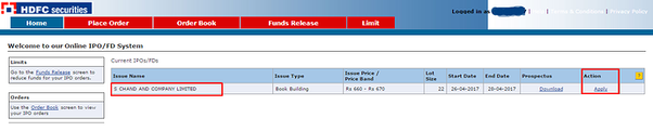 Ipo application through hdfc securities