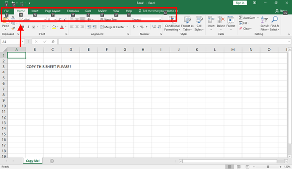 What is the shortcut to copy one existing tab in excel in the same here we want to hit h to navigate to the home tab red arrow ibookread Download