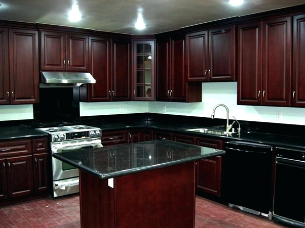 How good do black granite countertops with cherry cabinets ...