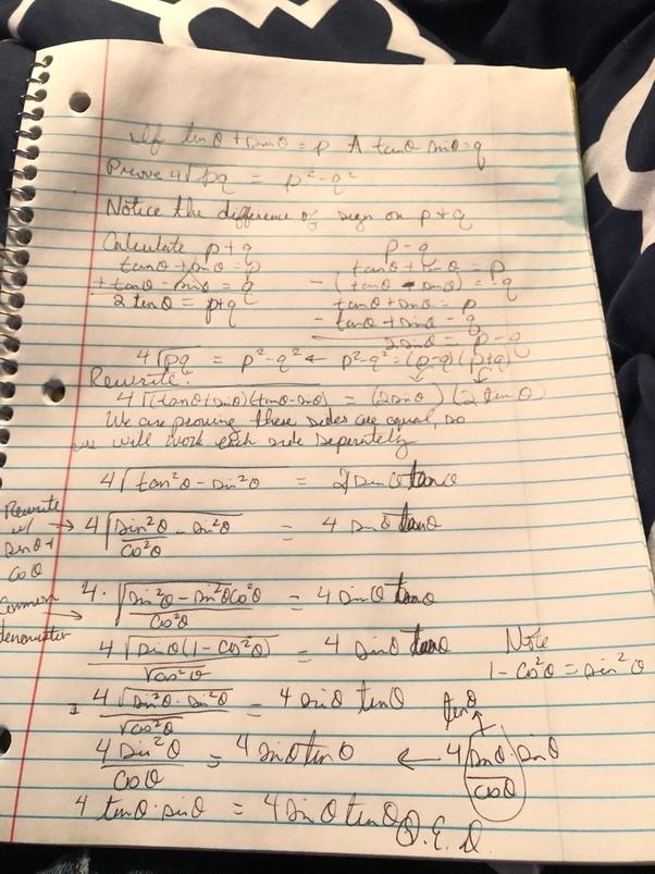 If tan theta + sin theta =p and tan theta - sin theta =q