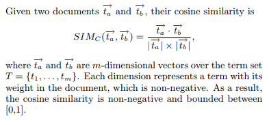 What is the function of cosine similarity in information
