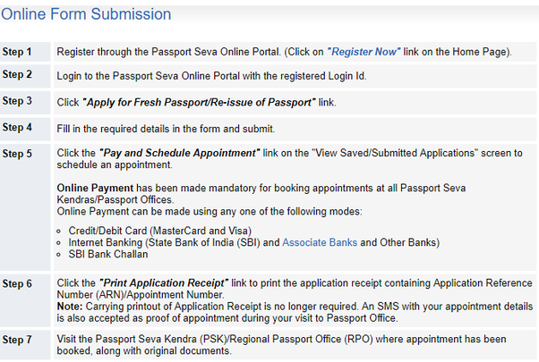 What is a step by step procedure for applying for a passport