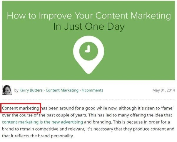 A Keyword Content Marketing Was Used At The Very Beginning Of Article Placing Near Ensures That Google Has An
