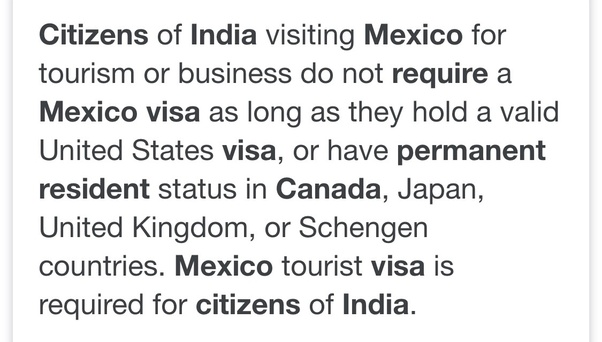 Does an Indian citizen with a valid Canada visa need a Mexican visa