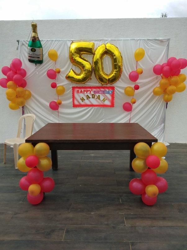 Simple Birthday Decoration With Balloon Bunches In The Hall And RoomEvibe