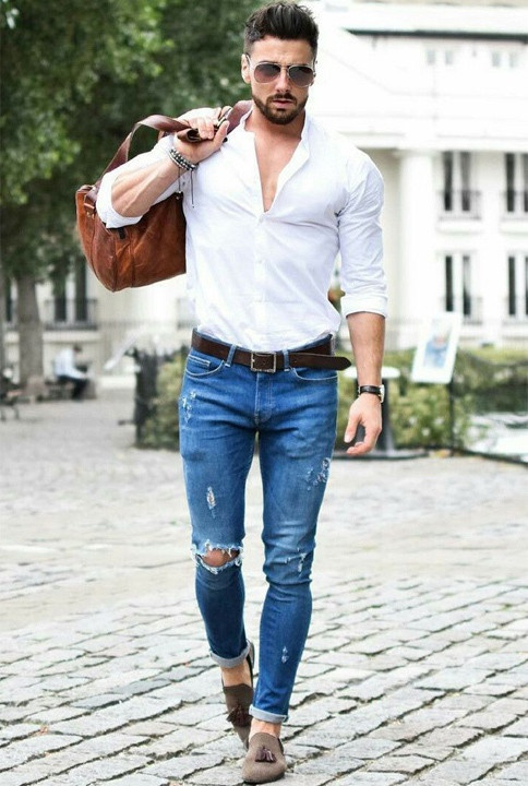 Blue with jeans which shoes wear colour to What Color
