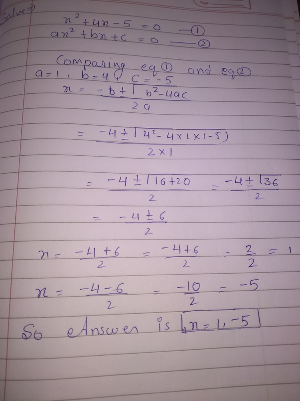 How To Solve The Quadratic Equation X 4x 5 0 By Completing The Square Quora